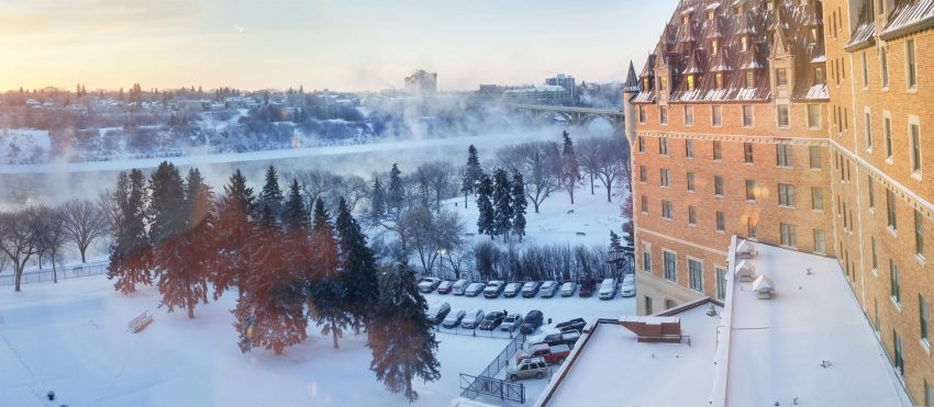 View of Saskatoon from a balcony at the Bessborough