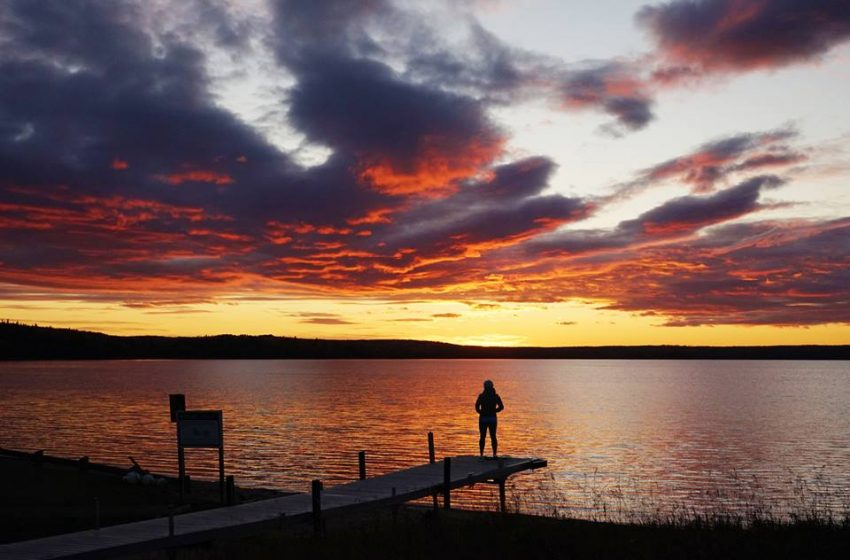 View of the sunset over Sandy Lake