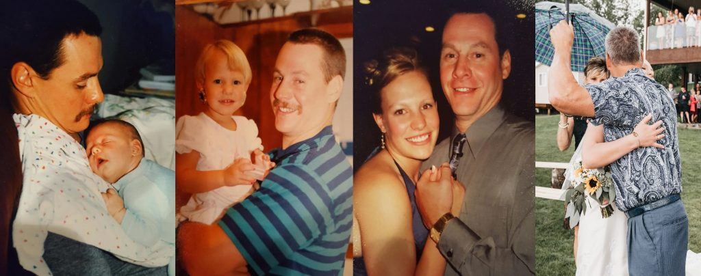 Father and daughter photo montage from birth to wedding.