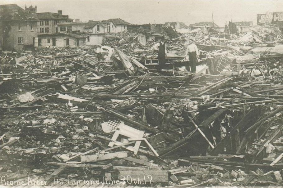 Cyclone wreckage of houses torn apart.