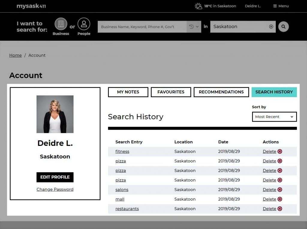 Diedre's Mysask411 search history saved in er account profile.
