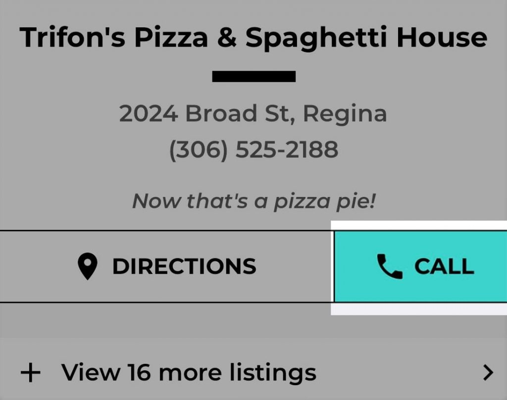 Trifon's Pizza Mysask411 profile with Click-To-Call button highlighted.