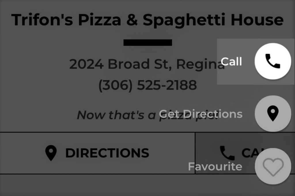 Trifon's Pizza Mysask411 profile with Click-To-Call side button highlighted.