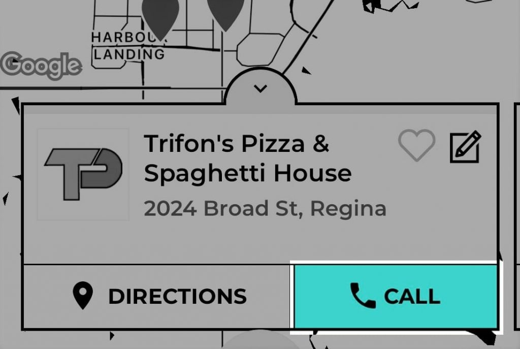Trifon's Pizza Mysask411 profile with Click-To-Call button highlighted on the map.