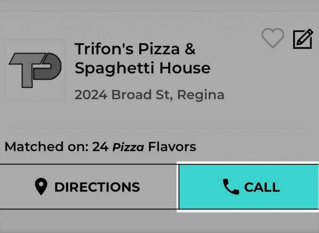 Trifon's Pizza Mysask411 profile with Click-To-Call button highlighted on the results page.