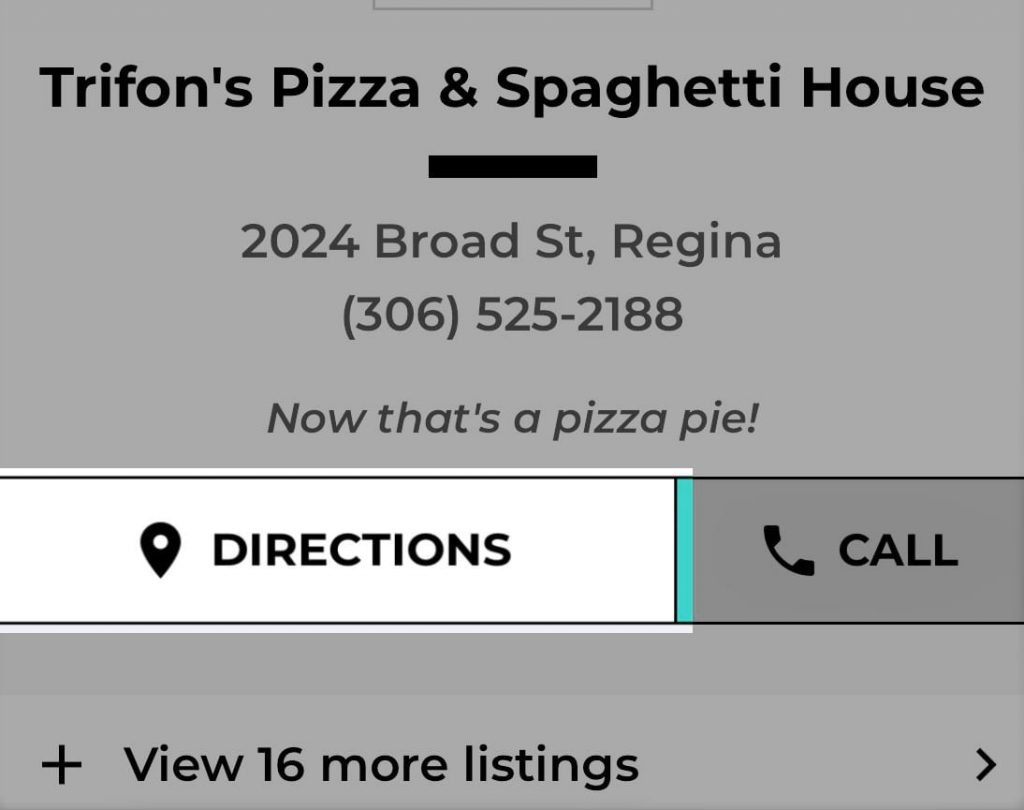 Trifon's Pizza Mysask411 profile with Directions button highlighted on details page.