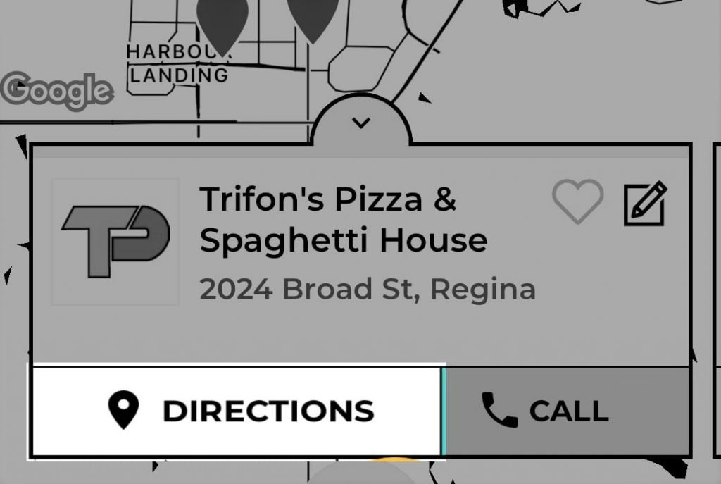 Trifon's Pizza Mysask411 profile with Directions button highlighted on the map.