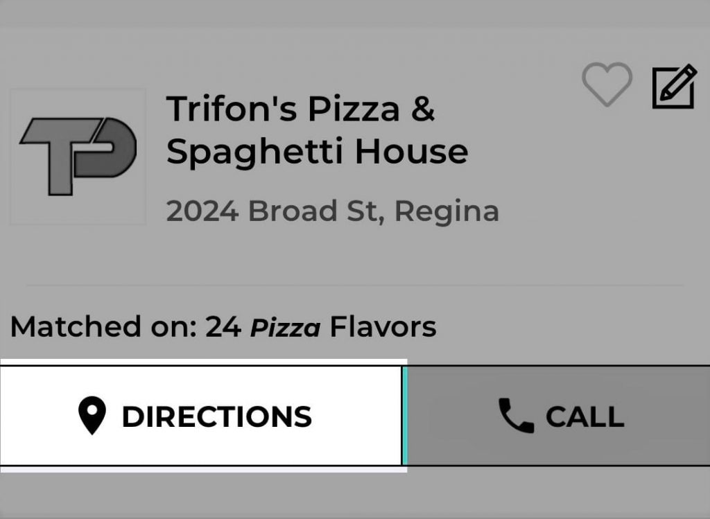 Trifon's Pizza Mysask411 profile with Directions button highlighted on the results page.