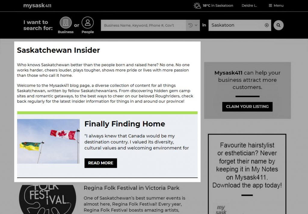 Mysask411 Blog page with highlighted snippet of feature blog.