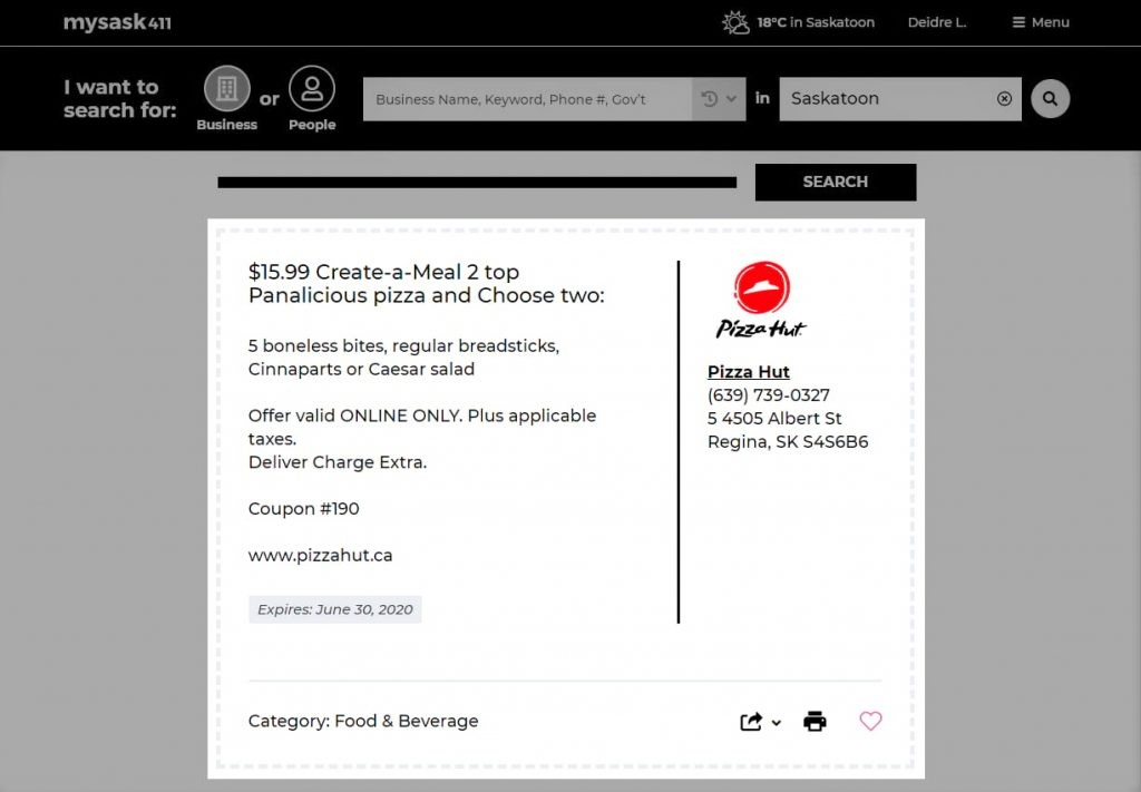 Mysask411 Deals Page with a hightlighted deal for Pizza Hut.