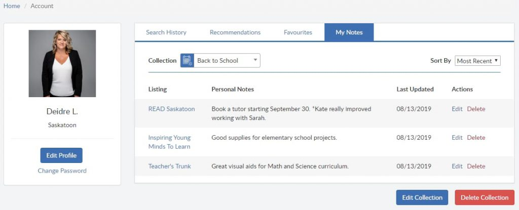Mysask411 screenshot of search history, recommendations, favourites and My Notes for Back to School collection.