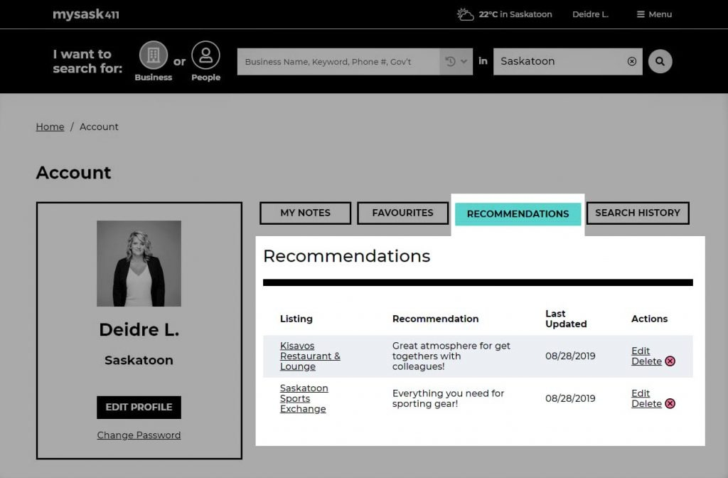 Mysask411 Deidre user account with Recommendations section displaying recommendations Deidre's written on businesses.