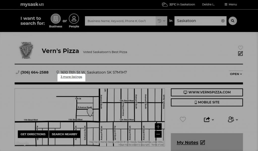 Mysask411 Vern's Pizza business profile with additional available listings highlighted.
