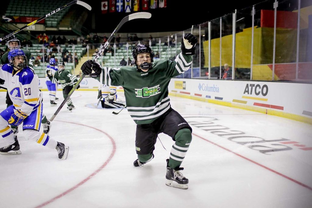 Victory skate from SaskFirst male hockey player.