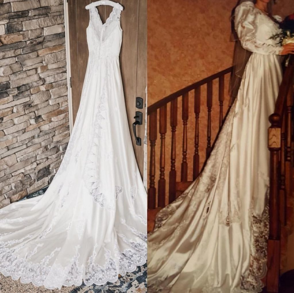 Picture of wedding dress hanging.
