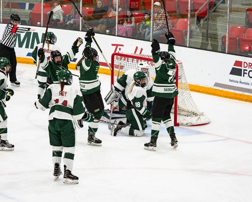 Girls' hockey team raising their hockey sticks in celebration after scoring a goal.