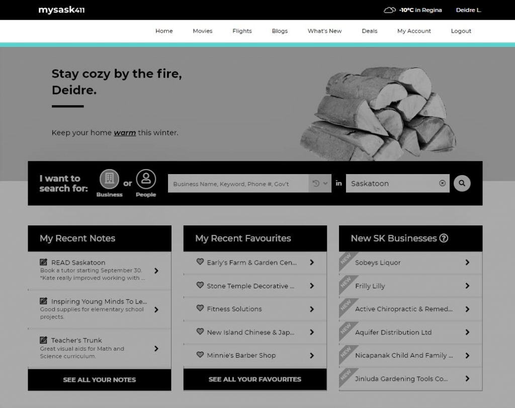 Menu navigation bar showcasing quick access to Mysask411 text