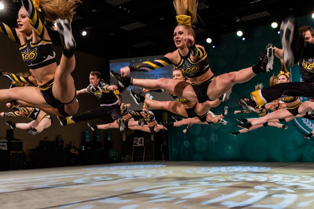 Cheerleading Team Toe Touch