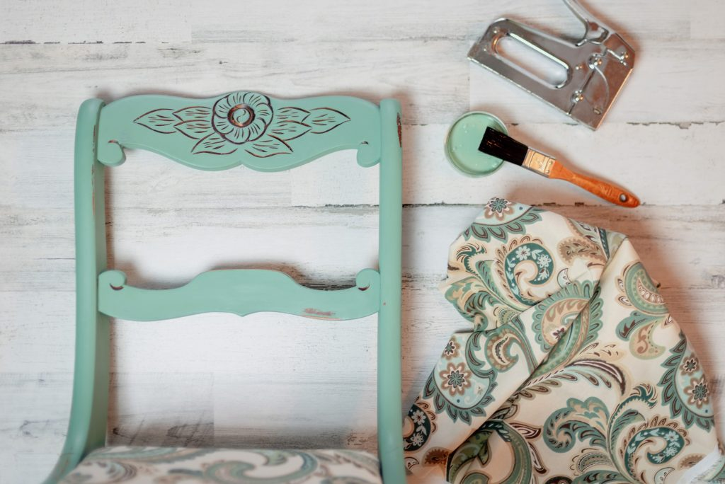 Upcycled vintage chair a fresh coat of paint and reupholstering