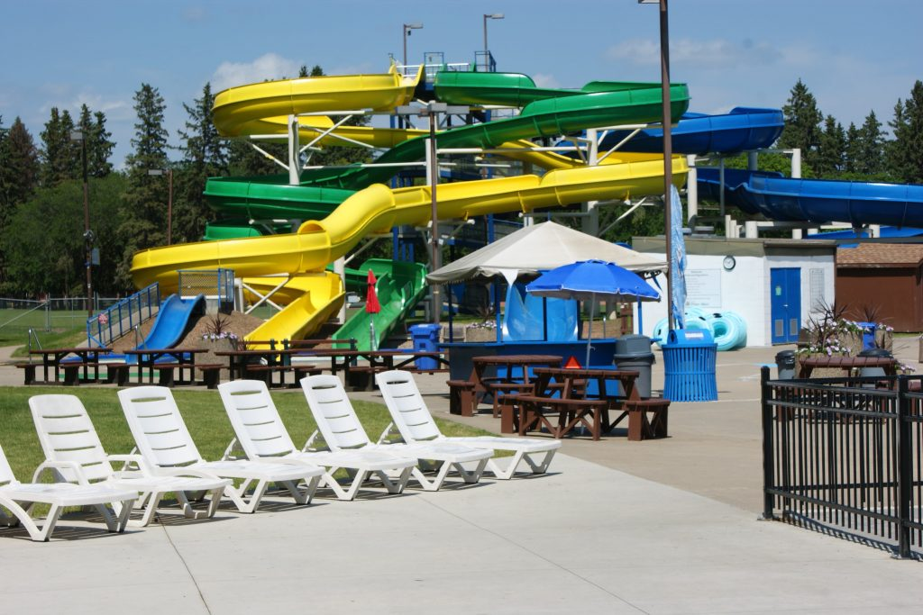 View of Kinsmen waterpark slides.