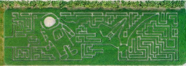 Drone shot of corn maze